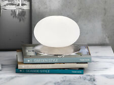 Tischlampe mit LED & Glasschirm oval, Design weiß silber antik, Nachttischlampe