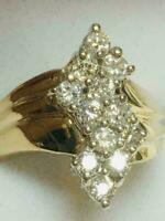 1Ct Round Cut Cluster In 14K Yellow Gold Finish Diamond Cocktail Engagement Ring