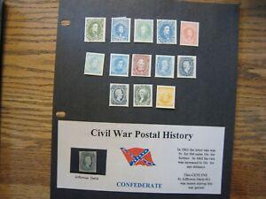 1860's US CSA Confederate postal set of FACSIMILES w/original 10c J,Davis blue