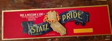 STATE PRIDE GRAPE CRATE LABEL VINTAGE 1940s PAUL MOSESIAN, FRESNO, CALIFORNIA