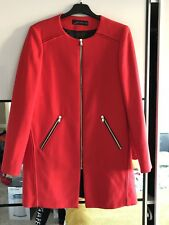 ZARA WOMEN Red Frock Jacket Coat M Collarless Blazer