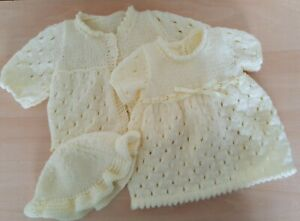 """Vintage Dolls Clothes~ Pretty Knitted Dress Set for large Baby Doll eg 24"""" Roddy"""
