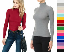 S M L Women's Basic Turtle Neck Sweater Long Sleeve Ribbed Stretch Fitted Solid