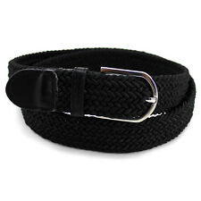 Stretch Braided Elastic Belt Cotton Leather Solid Buckle High Quality Men Women