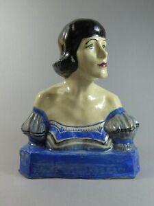 Art Deco 1920's Scottish Studio Pottery Bust Sculpture Majel Davidson Gushetneuk