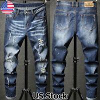 Men's Ripped Skinny Biker Jeans Distressed Slim Fit Denim Trousers Casual Pants