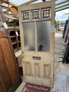 Edwardian /  Victorian ANTIQUE FRONT ENTRANCE DOOR - Stained Glass Leaded Ornate