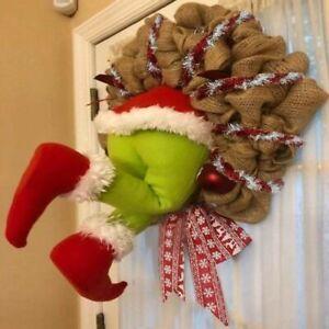 Christmas Thief Stole Grinch Plush Leg Door Christmas Decoration Garland Wreath