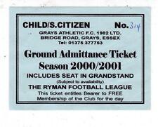 GRAYS ATHLETIC GROUND ADMITTANCE TICKET 2000/01