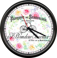 French Shabby Apartment English Garden Flowers Paris Bicycle Sign Wall Clock