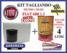 KIT TAGLIANDO OLIO  BARDAHL 10W40 + FILTRI FIAT 600 SEICENTO 1.1 10/2000 in poi
