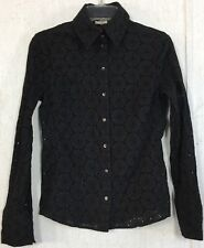 Magaschoni Floral Eyelet Blouse Black Button Up Lace Top Cutout Long Sleeve 8 M