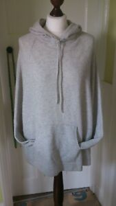 white company grey 100% cashmere hooded poncho/cape size S/M