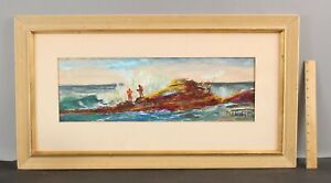 Original DAHLI STERNE Impressionist Seascape Gouache Painting Fishing Fishermen