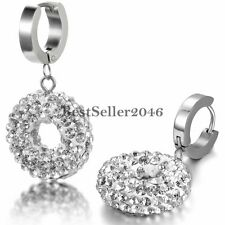 Stainless Steel Hinged Huggies Hoop Shiny Round Drop Dangle Earrings Womens Gift