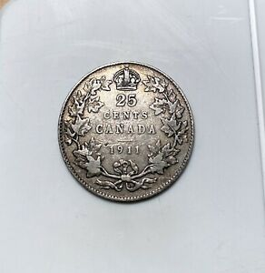 1911 CANADA 25 Cents - Nicer Grade - King George V - Canada - Silver - 25c