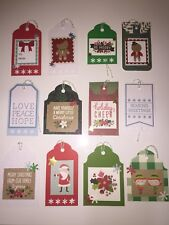 Handmade Christmas Gift Tags Set Of 12,  Free Shipping In US