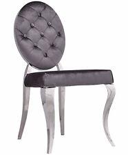 Glamour Fauteuil Chrome Chaise Gris Velours Louis Vintage Acier Argent Salon