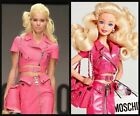 SET MOSCHINO Couture Jeremy Scott BARBIE Pink Leather Cropped Biker Jacket&SKIRT
