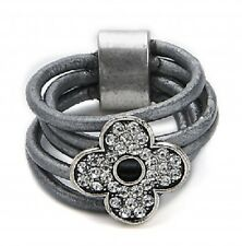 Grey Multi Strand Leather & Silver Crystal Flower Ring - 18mm - Size Q