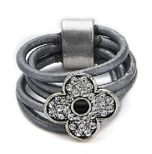 Grey Leather & Silver Detailed Crystal Flower Ring - Size Q