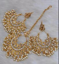 Indian Bollywood Gold Plated Jhumka Earrings Tika Ethnic Fashion Jewelry