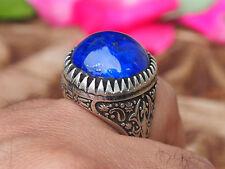 Orientali antichi argento massiccio anello lapis lazuli dall'Afghanistan NO. 17/477