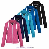 Ladies Womens Plus Sizes Plain Zip Hoodie Zip Top Hooded Sweatshirt Hoody Jacket