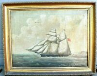 Antique Nautical Signed 1841 William Pike Schooner Ship Oil Painting Picture