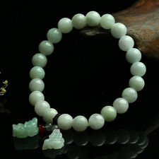 Natural Grade A Jade (jadeite) 8mm Bead with Pixiu Charm Bracelet Good Luck