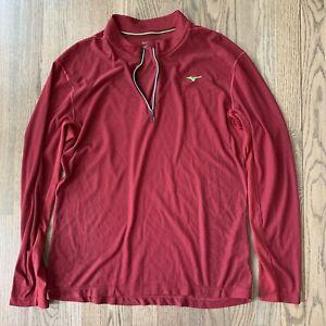 Mizuno Men Breath Thermo Half 1/4 Zip Medium Red Athletic Long Sleeve Shirt