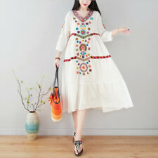 Women Dress Midi Linen Ethnic Floral Embroidery Tunic Beach Summer Hippie Dress