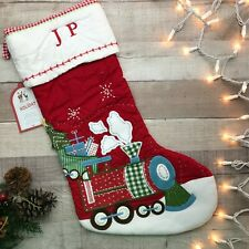 """NWT Pottery Barn Kids Quilted Stocking Train Red """"JP"""""""