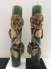 Vtg Green Gold Gilt Painted 3D Roses Candle Sticks Romantic Flower Cottage Chic