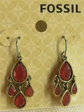 Fossil Earrings Brass Ox Tone Berry Native Drops New! NWT