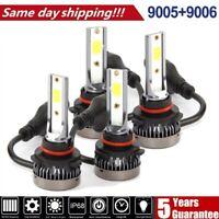 4x 9005 9006 CREE LED Headlight Combo Kit Bulbs 6000K White Hi-Lo Beam Lamp Powe
