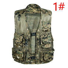 Summer Mens Outwear Vest Pockets Photographer Camouflage Waistcoat Mesh Coat XL