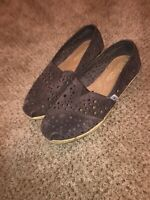 Toms Slip On Shoes Women's Size 7 Brown With Burlap Bottom LIGHTLY USED