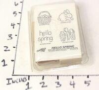 Stampin' Up! Rubber Stamp Set of 4 Hello Spring Bunny Rabbit Easter Basket Tulip