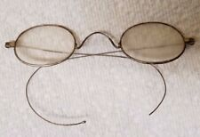 1f8e3ac3b87c Antique Gold Tone Thin Wire Marked Oval Glasses Spectacles Woman s Curved  arms