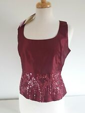 LAURA ASHLEY  Petite stunning Vintage burgundy color special occasion sequin top