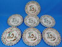 "7 Antique Copeland Spode Canton 1880 7"" Scalloped Edge Dessert Plates"