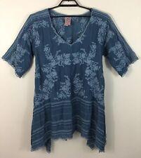Johnny Was Women Leaf Garden Tunic Blue Plus Size 1X XXL Floral Embroidered Boho