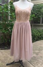 NWT Adrianna Papell Women's Beaded-Bodice Tulle Dress MIDI (2-4, Blush) PROM
