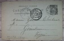 France postal stationery 1900 From Vertaizon to Gerardmer Puy de Dome to Vosges