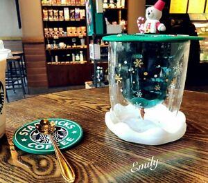 NEW Starbucks Bear Silicone Lid Christmas Tree Double Glass Spoon Coffee Mug Cup