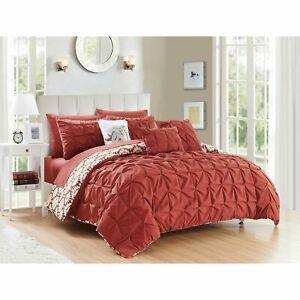 Twin Full Queen Cal King Bed Bag Brick Red Pintuck Pleat Geo 10 pc Comforter Set