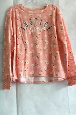 "Justice Girls' Orange Floral Shirt with Glittery ""JUSTICE Est. 04"" Graphic"