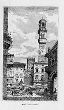 Stampa antica VERONA Piazza delle Erbe con bancarelle e figure 1877 Old print