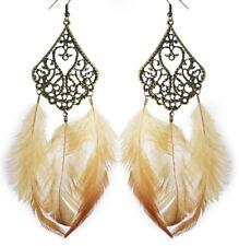 F1396 fashion Feather charm circle chain cute dangle chandelier earrings jewelry